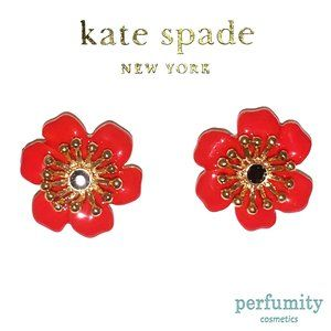 Kate Spade Classy Hibiscus Flower Earrings Red NEW